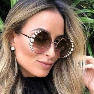 Accessories - Luxury Round Pearl Sunglasses in Gold